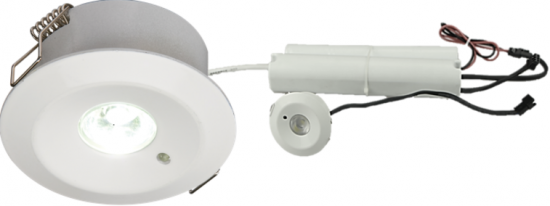 105846 550x206 - 230V IP20 3W LED Emergency Downlight 6000K (maintained/non-maintained use)