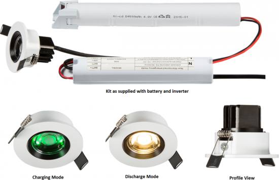 106314 550x355 - 230V IP20 5W LED Emergency Downlight 6000K (non-maintained use only)